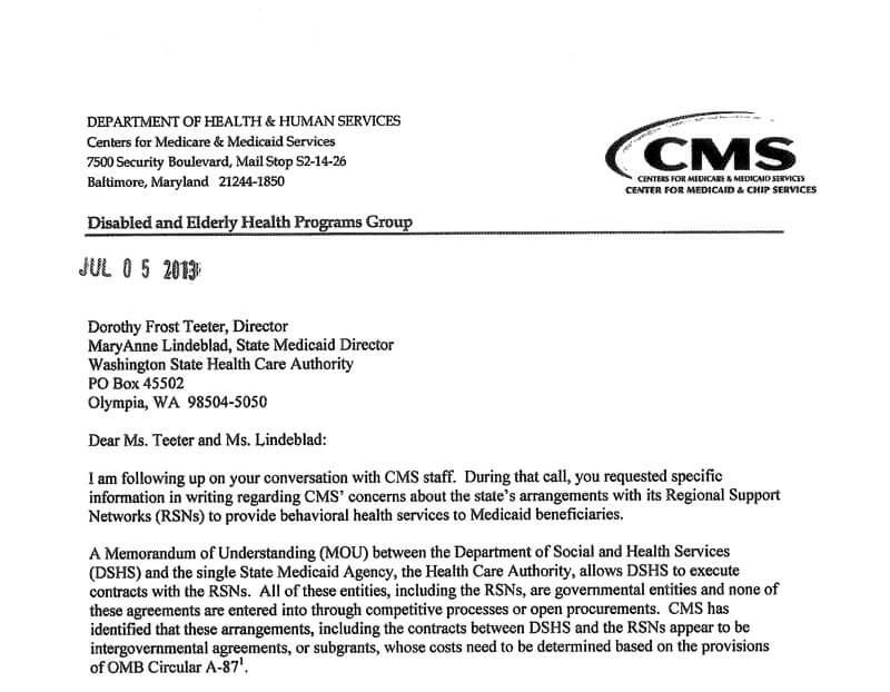 WA: CMS Calls Mental Health System Invalid