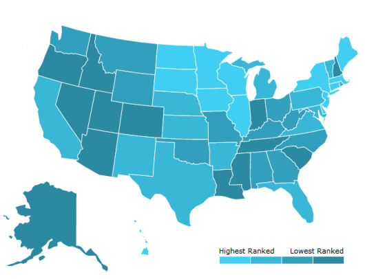 New MHA Report Gives Poor Outlook For Mental Health In The United - Bottom half of us map