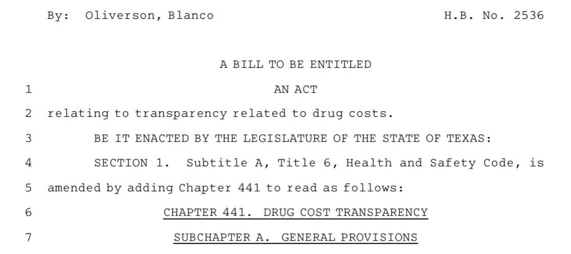 Texas drug-pricing transparency bill passes full Legislature - State